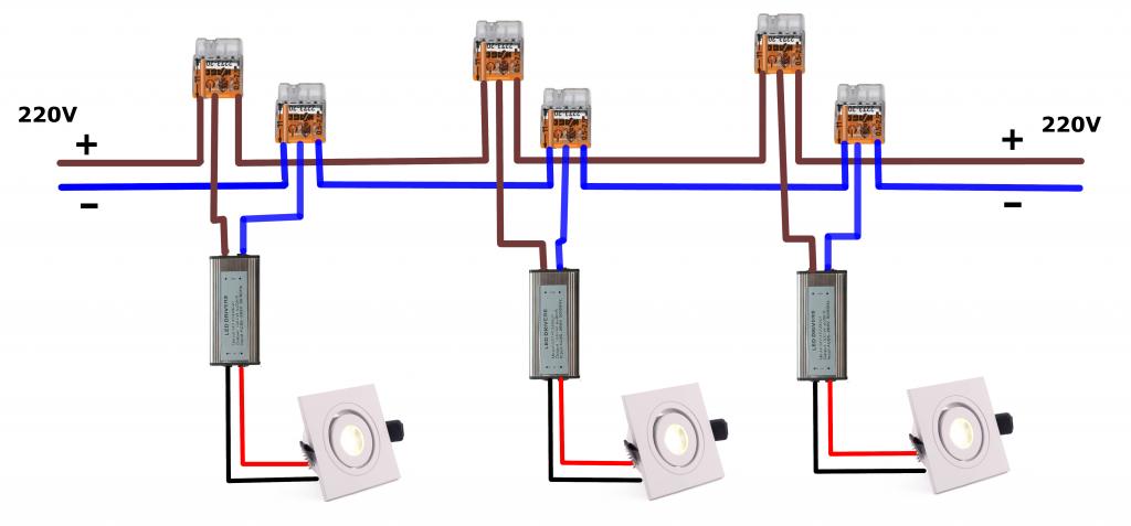 LED šviestuvų pajungimo schema