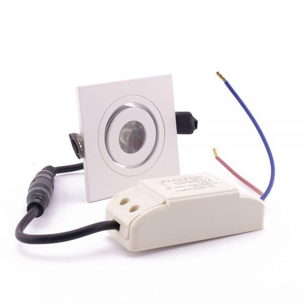 1W LED šviestuvas baltos spalvos su maitinimo šaltiniu pakalimams