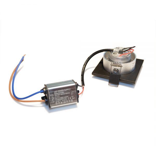 1W LED šviestuvas pakreipiamas juodas IP44 2