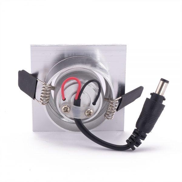 1W LED šviestuvas sidabrinės spalvos gale pakalimams